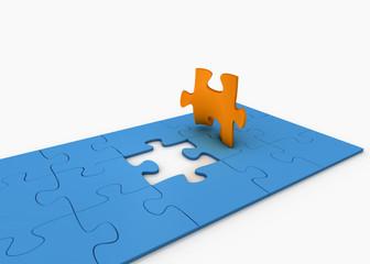 Puzzle mit Puzzleteil als Figur
