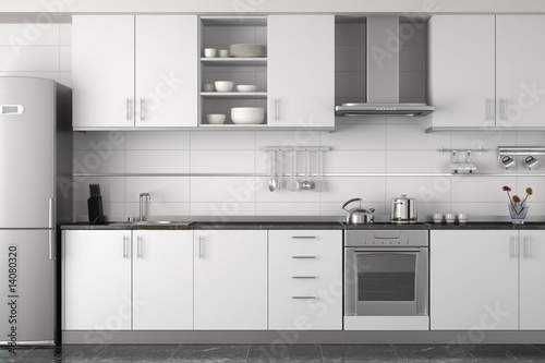 interior design of modern white kitchen - 14080320