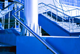 Marble staircase with a steel handrail poster
