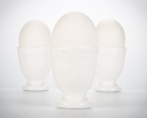 Three eggs in eggcups
