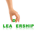 Hand and word Leadership poster