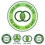 Not genetically modified and no GMO food label stickers poster