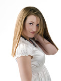 Young caucasian woman in white top half length poster