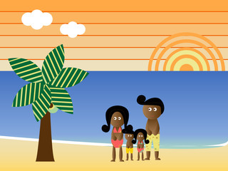 Retro style african american family at the beach