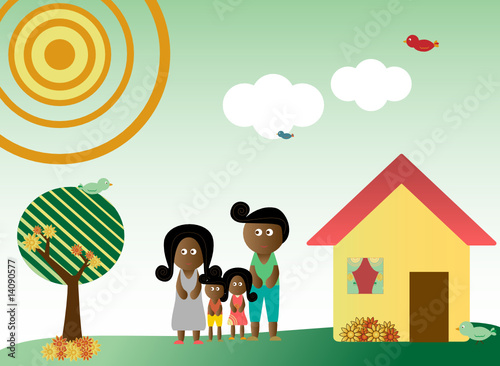 Retro style african american family