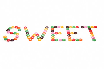 Colourful chocolate spelling word sweet