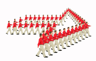 marching businessmen in red shirts arrow pointer collage.