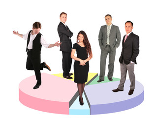 five businessmen taking diverse position standing on diagram