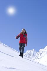 Frau, Winter, Berge, Sonne