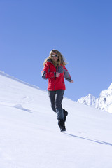 Frau, Winter, Berge