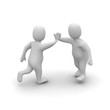 Two characters giving high five. 3d rendered illustration.