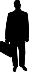 Business Man with Briefcase Silhouette