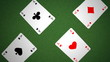 cards animation (four aces, royal flush)