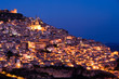 view by night old italian village at twilight