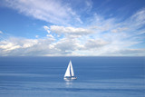 Lonely white sail at infinite ocean poster