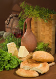 Bread, Wine And Greenery poster