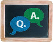 """Q. & A."" on blackboard"