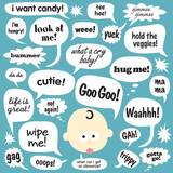 Various Phrases in cartoon balloons poster
