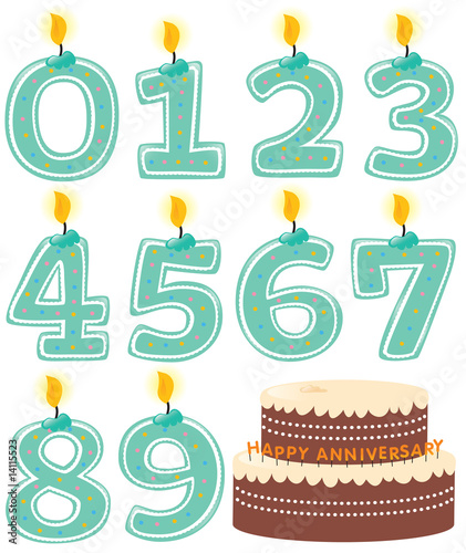 Anniversary Numeral Candle Set and Cake