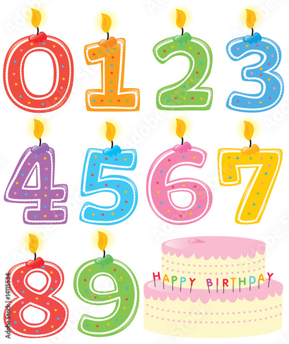 Numbered Birthday Candles Set with Cake