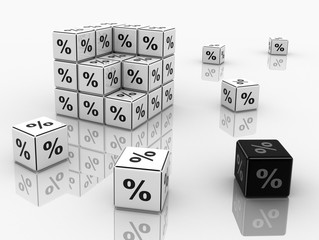 Symbols of percent on cubes on a white background