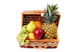picnic basket with fruits poster