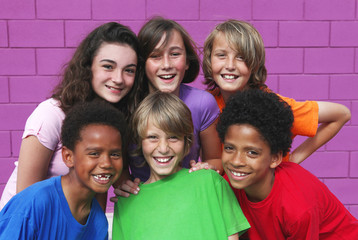 happy group of diverse kids