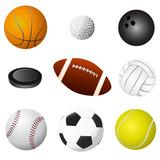 sport balls set vector poster