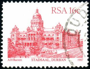 South Afrika. Stadtsaal, Durban. Stamp. 1987.