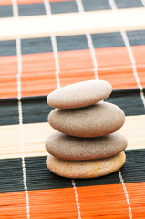 Stack of spa pebbles on mats