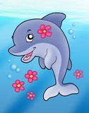 Cute dolphin girl in sea-