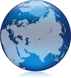Earth globe with round dots, Asia on northern hemisphere poster
