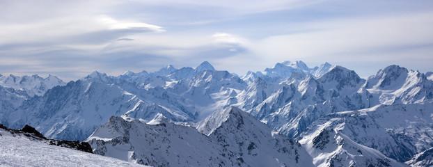 Panoramic view of Greater Caucasus from Elbrus