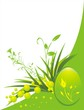 Grass, twigs and decorative egg. Background for card. Vector