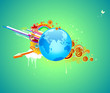 roleta: abstract background with globe, flowers, arrows