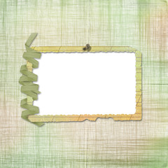 Grunge frame on the abstract background with streamer and nail