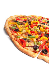 sliced vegetable pizza