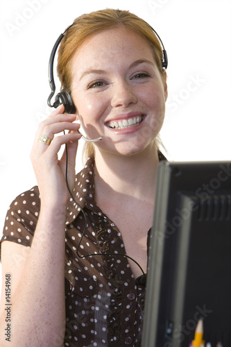 Woman with headset, smiling, portrait, cut out