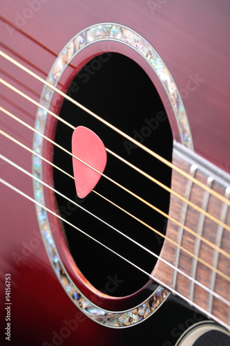 Guitar plectrum on strings