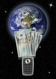 Global money transfer by cell phone poster