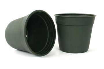 plant pots on white background