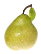 Green wet pear with green leaf  isolated on white background