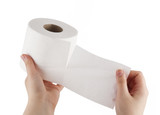 Hand tearing toilet paper with path (see also)