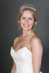 Smiley Happy Bride on Grey Background