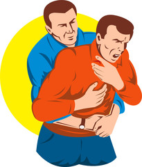 Adult performing Heimlich maneuver on another adult