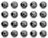 Database web icons, black glossy circle buttons series poster
