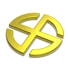 Gold sun cross symbol isolated on the white.