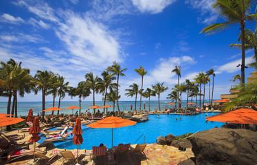 swimming pool on Waikiki beach, Hawaii
