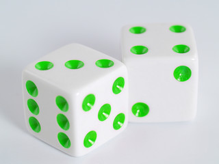 White Dice Green Colored Dots