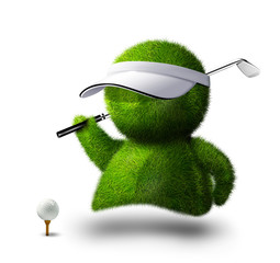 cute green person playing golf.